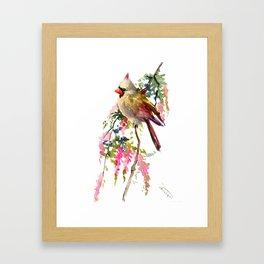 Cardinal Bird Earth Green Olive green Pink Framed Art Print