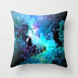 Fantasy Garden Path Turquoise Purple Throw Pillow