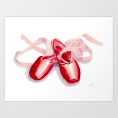Red Toe Shoes Art Print