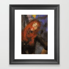 Bemused Portrait Framed Art Print
