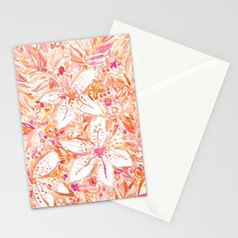 LILY SUNSET Peach Beachy Floral Stationery Cards