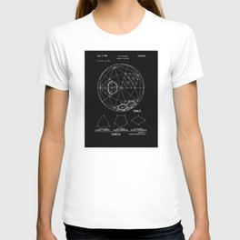 Buckminster Fuller 1961 Geodesic Structures Patent - White on Black T-shirt