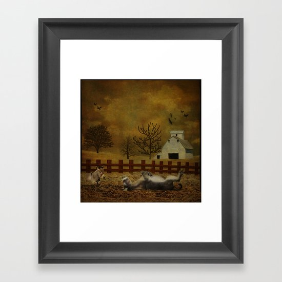 A Roll in the Hay Framed Art Print