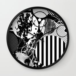 Black And White Choas - Mutli Patterned Multi Textured Abstract Wall Clock