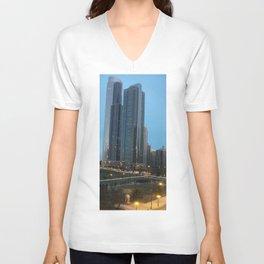 Chicago Skyline, Skyscrapers, Sunset Unisex V-Neck