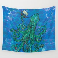 kraken Wall Tapestries featuring The Kraken by Inked in Red