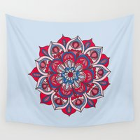 hippy Wall Tapestries featuring Hippy Mandala - Magenta Edition by Ciro Design