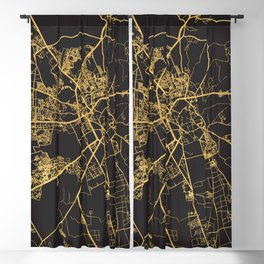 MARRAKESH MOROCCO GOLD ON BLACK CITY MAP Blackout Curtain