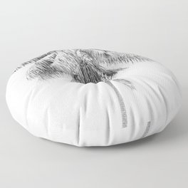Palm in Black and White Floor Pillow