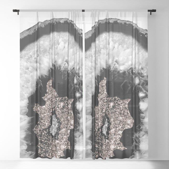 Gray Black White Agate Glitter Glamor #5 #gem #decor #art #society6 Sheer Curtain