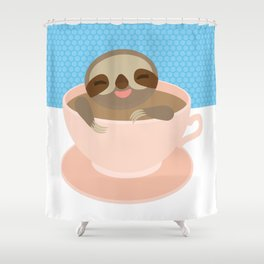 Sloth in a Pink cup coffee, tea, Three-toed sloth Shower Curtain