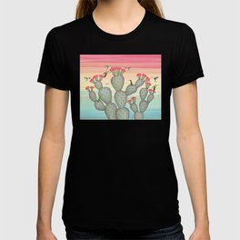 ruby throated hummingbirds & prickly pear cactus T-shirt