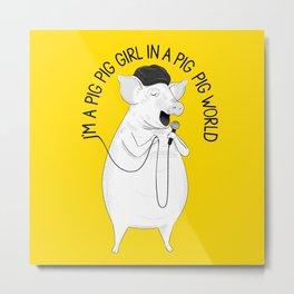Pig singing Emilia | Animal Karaoke | Illustration Metal Print