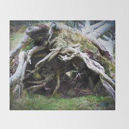The enchanted fallen tree Throw Blanket