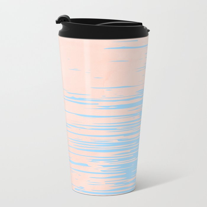 Carefree - Sweet Peach Coral Pink on Blue Raspberry Metal Travel Mug