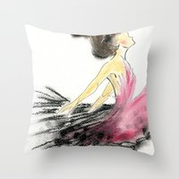 dance Throw Pillows featuring Dance by Natalie Woo artwork