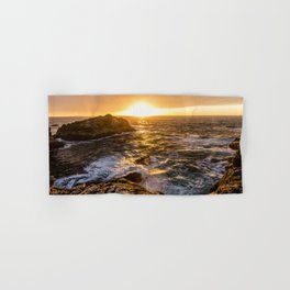 In Waves - Waves Crashing Into Rocks at Sunset In Big Sur Hand & Bath Towel