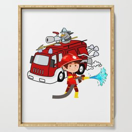 Firefighter Birthday 6 year old Serving Tray