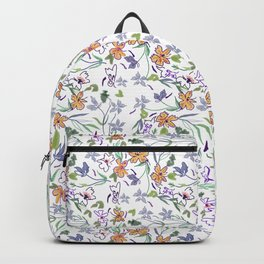 simple flowers on white background . artwork Backpack