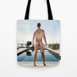 Man Nude by Pool Tote Bag