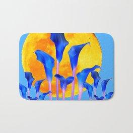 GOLDEN FULL MOON BLUE CALLA LILIES BLUE ART Bath Mat