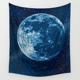 Big Blue Moon Wall Tapestry