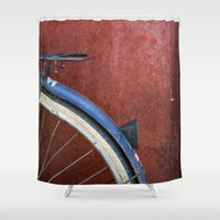 bikes Shower Curtains featuring Bikes of Hanoi by SOSKIphoto