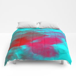 Abstract magenta red blue Comforters