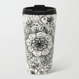 Messy Boho Floral in Charcoal and Cream  Metal Travel Mug