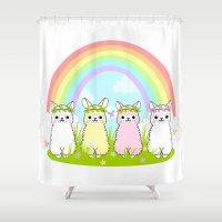 alpaca Shower Curtains featuring Alpaca Paradise by rinicake