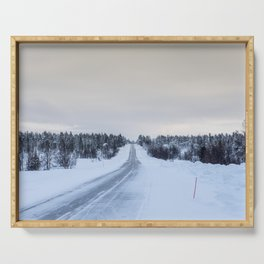 Icy Road in Finland Serving Tray