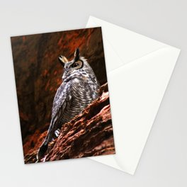 Great Horned Owl in the Rocks Stationery Cards