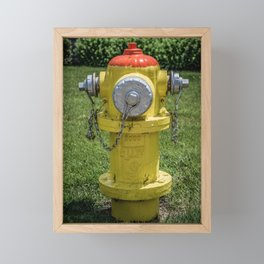 East Jordan Iron Works Orang and Yellow Fire Hydrant Fireplug Framed Mini Art Print