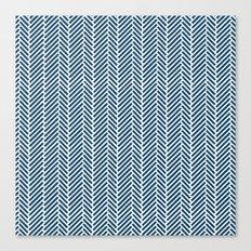 Herringbone Navy Inverse Canvas Print