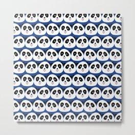 Panda Bear Faces Blue Metal Print