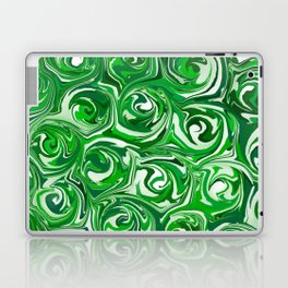 Emerald Green, Green Apple, and White Paint Swirls Laptop & iPad Skin