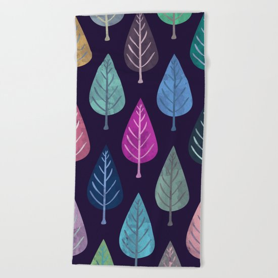 Watercolor Forest Pattern IV Beach Towel