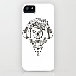 Cyclops listens to music. iPhone Case