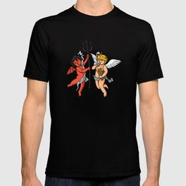 Demon and Angel smoking classic style T-shirt