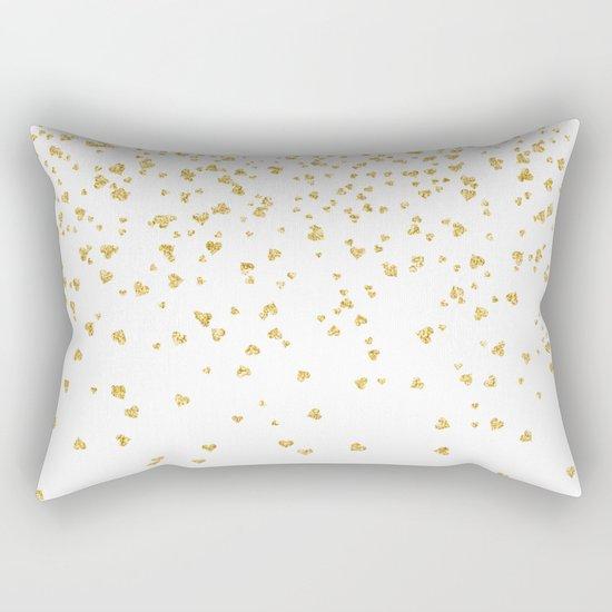 Falling hearts gold glitter confetti - Heart Love Valentine Rectangular Pillow