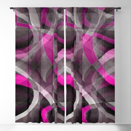 Eighties Style Fucshia Pink and Grey Curves Pattern Blackout Curtain