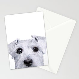 Schnauzer original Dog original painting print Stationery Cards