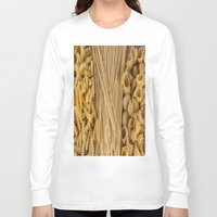 pasta Long Sleeve T-shirts featuring Different kind of pasta by Joseagon