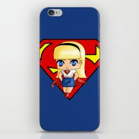 supergirl iPhone & iPod Skins featuring Chibi Supergirl by artwaste