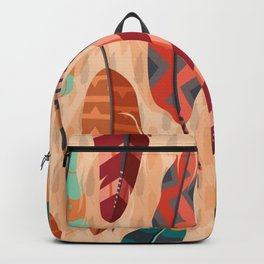 Native American, Colorful Feathers Backpack