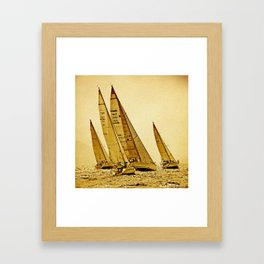 sailboat race in mediterranean sea Framed Art Print