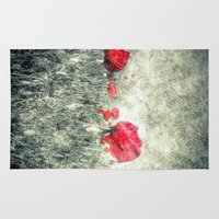 letters Area & Throw Rugs featuring Poppies & Letters by ARTbyJWP