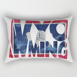 Wyoming Typographic Flag Map Art Rectangular Pillow