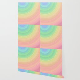 Abstract Pastel Rainbow I Cute abstract circles, gradient pattern Wallpaper