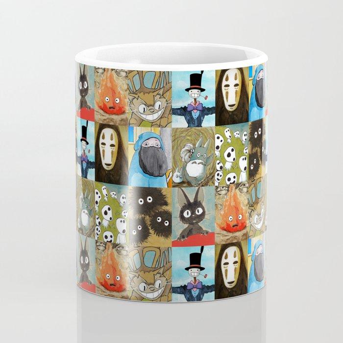 Studio Ghibli Collage - Calcifer, Jiji, Turnip, No Face, Markl, Kodama, Cat Bus & Soot Sprites Coffee Mug